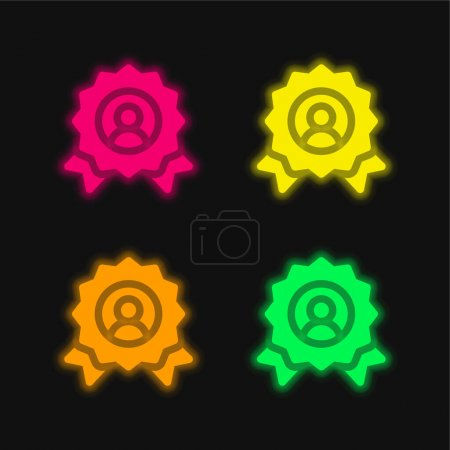 Illustration for Award four color glowing neon vector icon - Royalty Free Image