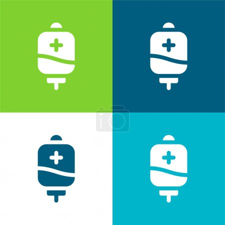 Photo for Blood Bag Flat four color minimal icon set - Royalty Free Image