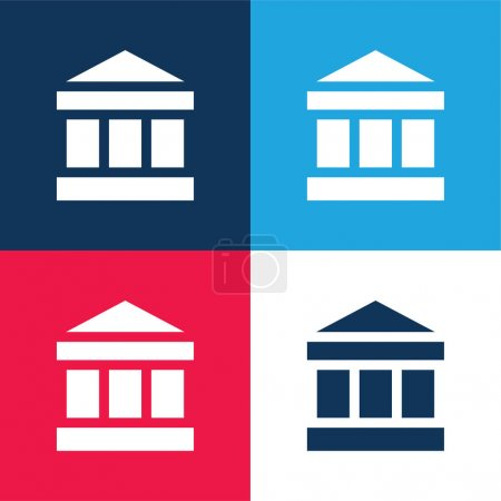 Illustration for Bank blue and red four color minimal icon set - Royalty Free Image