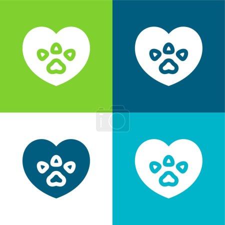 Foto de Animal Rights Flat conjunto de iconos mínimo de cuatro colores - Imagen libre de derechos