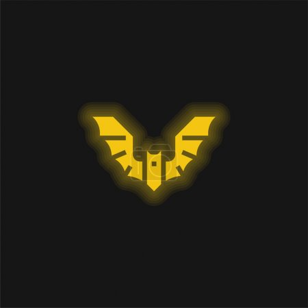 Photo pour Icône néon jaune chauve-souris - image libre de droit