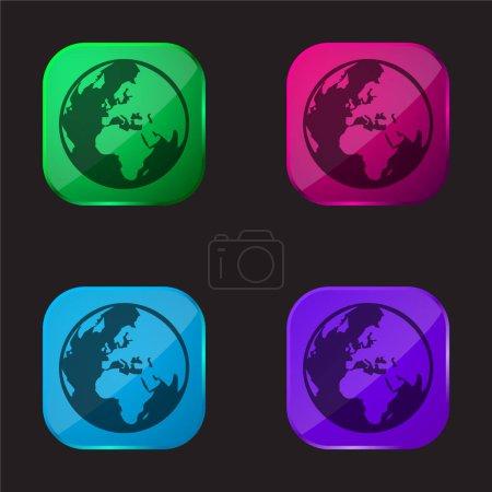 Illustration pour Asmallworld Logo icône bouton en verre quatre couleurs - image libre de droit