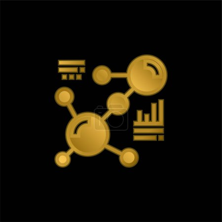 Illustration for Biology gold plated metalic icon or logo vector - Royalty Free Image