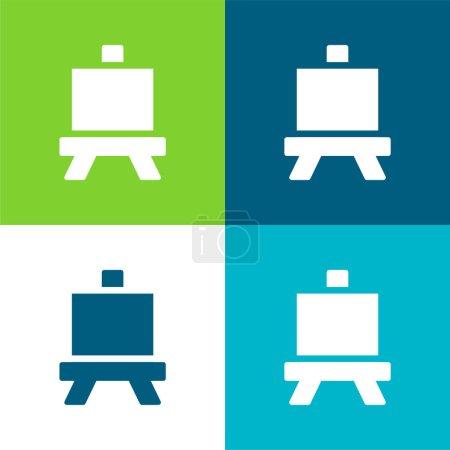Illustration pour Art Board Ensemble d'icônes minimal plat quatre couleurs - image libre de droit