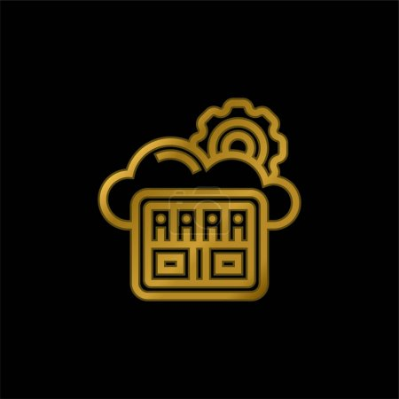 Illustration for Big Data gold plated metalic icon or logo vector - Royalty Free Image