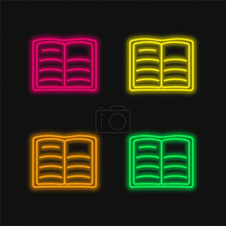 Book Of Text Opened Outline four color glowing neon vector icon