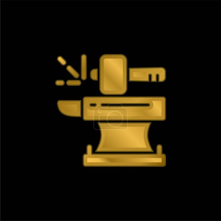 Illustration for Blacksmith gold plated metalic icon or logo vector - Royalty Free Image