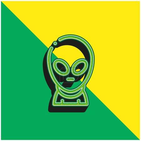Photo pour Logo d'icône vectoriel 3D moderne vert et jaune Alien - image libre de droit