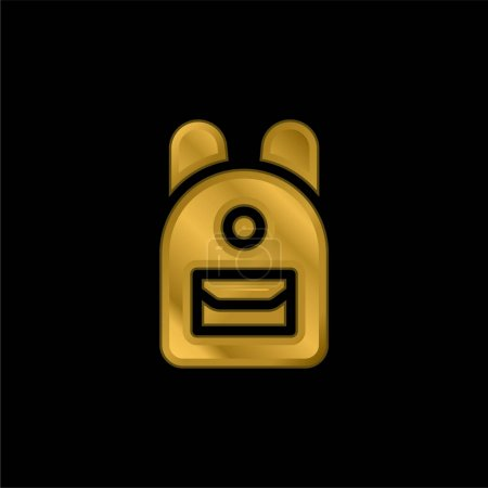 Illustration for Backpack gold plated metalic icon or logo vector - Royalty Free Image