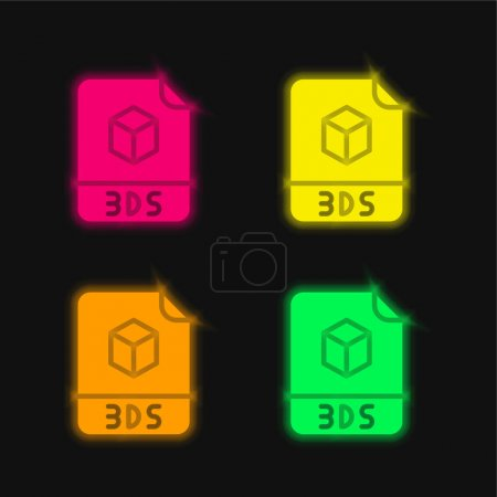 3ds four color glowing neon vector icon