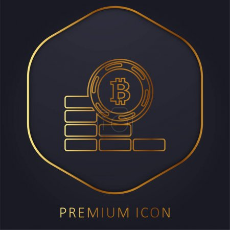 Bitcoin moneta idzie w dół złotej linii logo premium lub ikona
