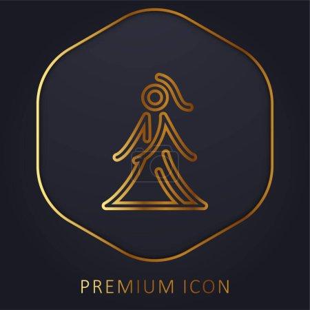 Illustration pour Mariée avec robe ligne d'or logo premium ou icône - image libre de droit