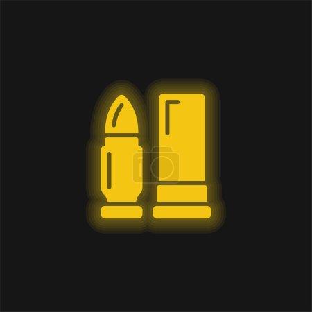 Illustration pour Munitions jaune brillant icône néon - image libre de droit