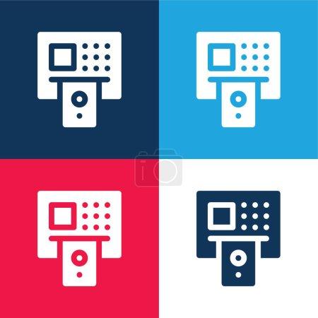 Illustration pour Ensemble d'icônes minimes quatre couleurs bleu et rouge ATM - image libre de droit