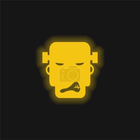 Illustration pour Fâché Frankestein jaune brillant icône néon - image libre de droit