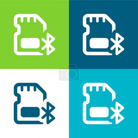 Illustration for Bluetooth Flat four color minimal icon set - Royalty Free Image