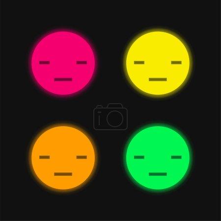 Illustration pour Ennuyeux quatre couleurs rougeoyantes icône vectorielle néon - image libre de droit