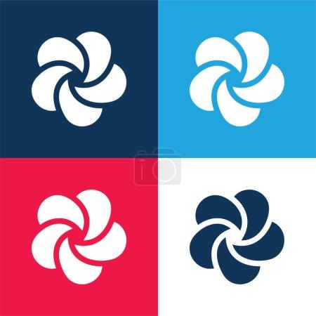 Illustration pour Ensemble d'icônes minimes Ayurveda bleu et rouge quatre couleurs - image libre de droit