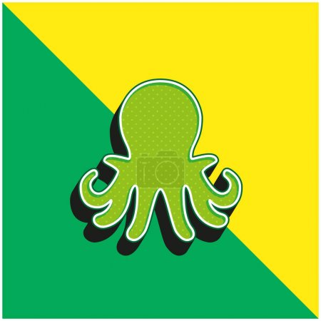 Illustration pour Aquarium Octopus Vert et jaune icône vectorielle 3D moderne logo - image libre de droit