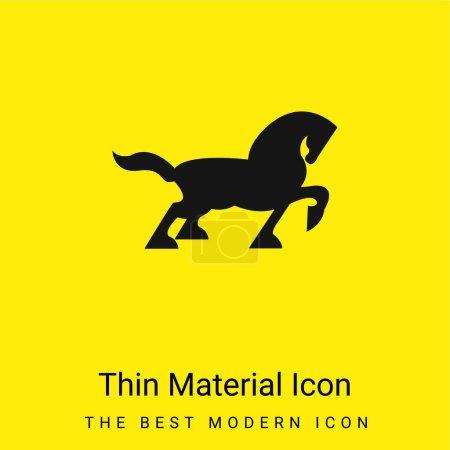 Illustration pour Grande silhouette latérale de marche de cheval noir avec la queue et un pied vers le haut icône matérielle jaune vif minimale - image libre de droit