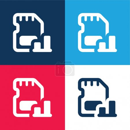 Bar Graph blue and red four color minimal icon set