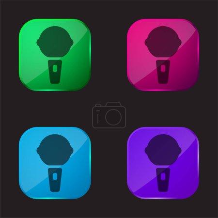 Illustration pour Big Karaoke Microphone icône bouton en verre quatre couleurs - image libre de droit