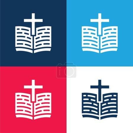 Photo pour Ensemble d'icônes minimes bible bleu et rouge - image libre de droit