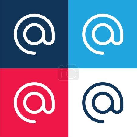 Illustration pour Au bleu et rouge quatre couleurs minimum jeu d'icônes - image libre de droit