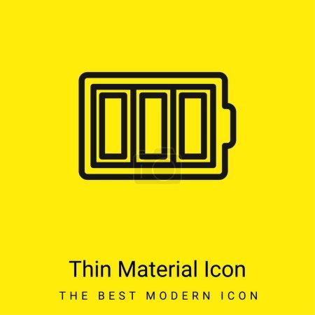 Illustration pour Symbole de contour mince de batterie dans un cercle icône minimale de matériau jaune vif - image libre de droit