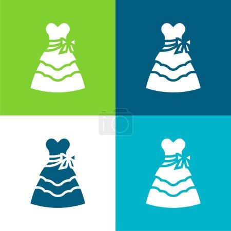 Illustration pour Robe de mariée Ensemble d'icônes minimal plat quatre couleurs - image libre de droit