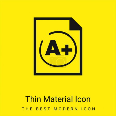 Illustration for A Plus Best Test Result minimal bright yellow material icon - Royalty Free Image
