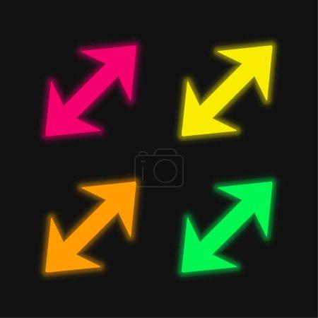 Illustration pour Flèche diagonale avec deux points aux directions opposées quatre couleur brillant néon vecteur icône - image libre de droit