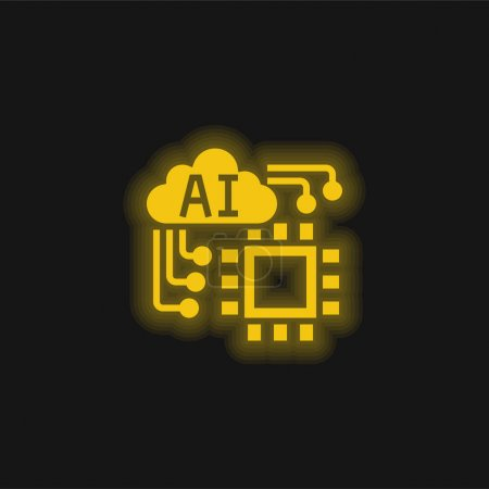 Illustration for Artificial Intelligence yellow glowing neon icon - Royalty Free Image