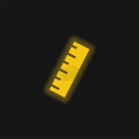 Illustration pour Règle noire jaune néon brillant icône - image libre de droit