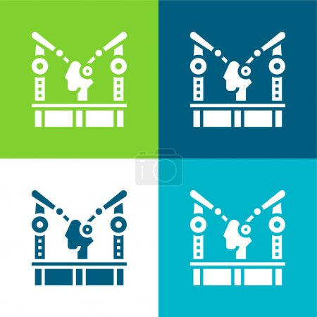 Illustration for Assembly Machine Flat four color minimal icon set - Royalty Free Image