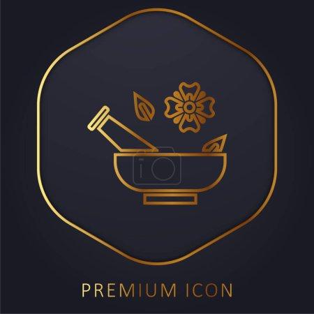 Illustration for Aromatherapy golden line premium logo or icon - Royalty Free Image