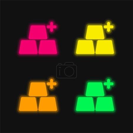 Illustration pour Ajouter des objets quatre couleur brillant icône vectorielle néon - image libre de droit