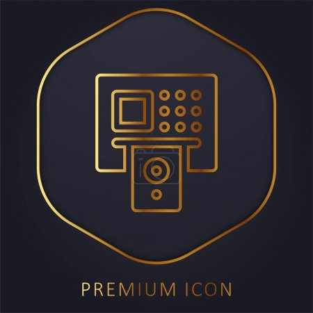 Illustration pour Ligne d'or ATM logo premium ou icône - image libre de droit