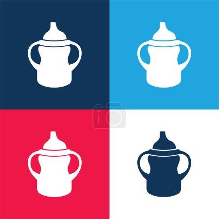 Photo pour Variante de biberon avec poignée des deux côtés bleu et rouge ensemble d'icônes minimales de quatre couleurs - image libre de droit
