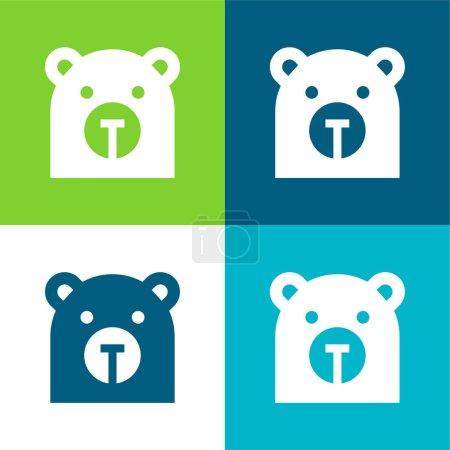 Illustration pour Ensemble d'icônes minimal Bear Flat quatre couleurs - image libre de droit