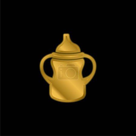Photo pour Variante de biberon avec poignée des deux côtés plaqué or icône métallique ou logo vecteur - image libre de droit