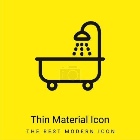 Tube de bain avec douche icône matérielle jaune vif minimale