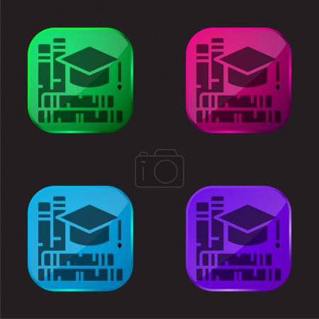 Illustration for Book four color glass button icon - Royalty Free Image