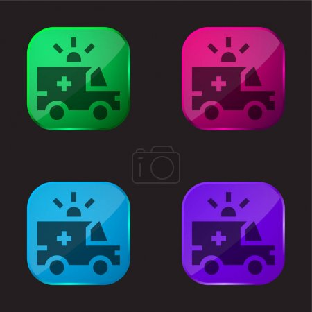 Illustration for Ambulance four color glass button icon - Royalty Free Image