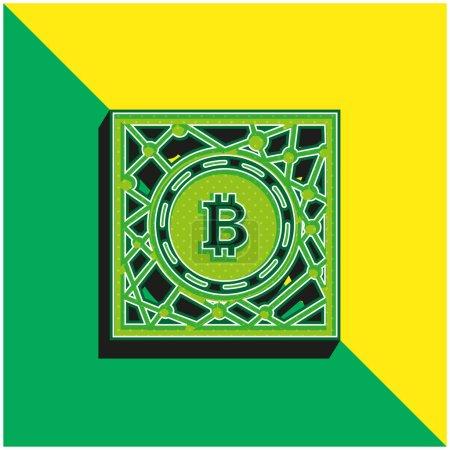 Illustration pour Symbole de réseau numérique Bitcoin Logo vectoriel 3d moderne vert et jaune - image libre de droit