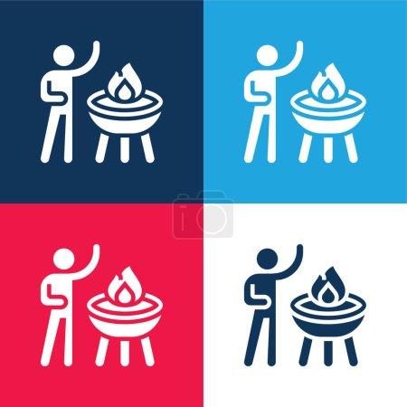 Illustration pour Barbecue bleu et rouge quatre couleurs minimum icône ensemble - image libre de droit