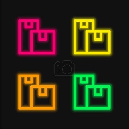 Illustration pour Boîtes quatre couleur brillant icône vectorielle néon - image libre de droit