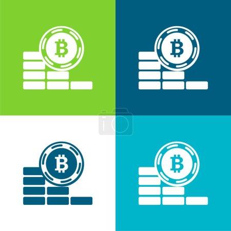 Bitcoin moneta idzie w dół płaskie cztery kolory minimalny zestaw ikon