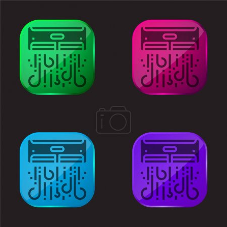Illustration for Air Conditioner four color glass button icon - Royalty Free Image
