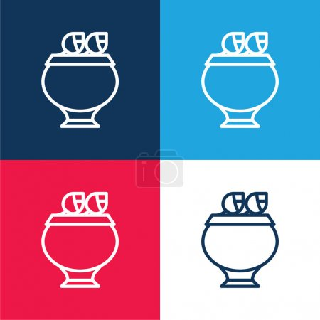 Photo for Bowl blue and red four color minimal icon set - Royalty Free Image